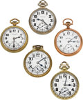 Timepieces:Pocket (post 1900), Five American 21 Jewel Running Railroad Grade Watches. ... (Total:5 Items)