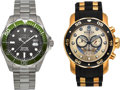 Timepieces:Wristwatch, New/Old Stock Invicta Chronograph & A Diver's Model, With Case.... (Total: 2 Items)