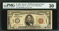 Small Size:World War II Emergency Notes, Fr. 2301* $5 1934 Mule Hawaii Federal Reserve Note. PMG Very Fine 30.. ...