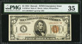 Small Size:World War II Emergency Notes, Fr. 2301* $5 1934 Mule Hawaii Federal Reserve Note. PMG Choice Very Fine 35.. ...