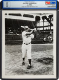 Baseball Collectibles:Photos, 1949 Jackie Robinson Original News Photograph Used for 1950 BowmanCard by Barney Stein, PSA/DNA Type 1. ...