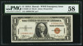 Small Size:World War II Emergency Notes, Fr. 2300 $1 1935A Hawaii Silver Certificate. A-C Block. PMG Choice About Unc 58.. ...