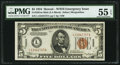 Small Size:World War II Emergency Notes, Fr. 2301 $5 1934 Mule Hawaii Federal Reserve Note. PMG About Uncirculated 55 EPQ.. ...