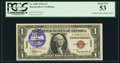 Small Size:World War II Emergency Notes, Fr. 2300 $1 1935A Hawaii Silver Certificate. A-C Block. PCGS About New 53.. ...