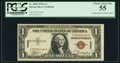 Small Size:World War II Emergency Notes, Fr. 2300 $1 1935A Hawaii Silver Certificate. PCGS Choice About New 55.. ...
