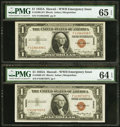 F-C Block Fr. 2300 $1 1935A Hawaii Silver Certificates. Two Examples. PMG Graded