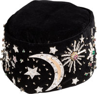 "Elijah Muhammad: Black Velvet and Jeweled Kofia, the Interior Embroidered with ""Elijah Muhammad, Our King, Messenge..."