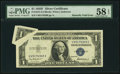 Error Notes:Gutter Folds, Fr. 1615 $1 1935F Silver Certificate. PMG Choice About Unc 58 EPQ.. ...