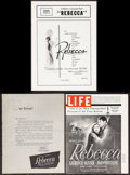 """Movie Posters:Hitchcock, Rebecca (United Artists, R-1949/R-1956). Uncut Pressbooks (3)(Multiple Pages, 10.5"""" X 13.5"""" & 11"""" X 15.25""""). Hitchcock.. ...(Total: 3 Items)"""