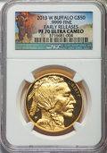 Modern Bullion Coins, 2013-W $50 One-Ounce Gold Buffalo, Early Releases PR70 Ultra Cameo NGC. NGC Census: (1490). PCGS Population: (1145)....