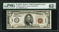 Fr. 2302 $5 1934A Hawaii Federal Reserve Note. PMG Choice Uncirculated 63 EPQ