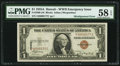 Error Notes:Shifted Third Printing, Fr. 2300 $1 1935A Hawaii Silver Certificate. PMG Choice About Unc 58 EPQ.. ...