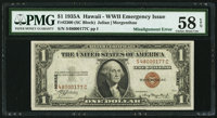 Fr. 2300 $1 1935A Hawaii Silver Certificate. PMG Choice About Unc 58 EPQ
