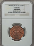 India:British India, India: British East India Company 1/4 Anna 1858(W) MS64 Red and Brown NGC,...