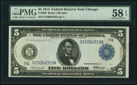 Fr. 868 $5 1914 Federal Reserve Note PMG Choice About Unc 58 EPQ