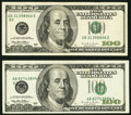 Error Notes:Error Group Lots, Fr. 2175-B $100 1996 FRNs Two Different Error Types.. ... (Total: 2notes)