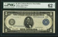Fr. 887a $5 1914 Federal Reserve Note PMG Uncirculated 62 Net