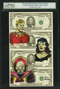 "Jim Keefe Original Cartoon Sketch ""Flash Gordon"" Fr. 1985-F $5 1995 Federal Reserve Notes. Uncut Sheet of Four..."