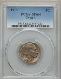 Buffalo Nickels, (2)1913 5C Type one MS64 PCGS.... (Total: 2 coins)