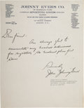 Baseball Collectibles:Others, 1933 Johnny Evers Handwritten & Signed Letter....