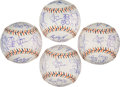 Baseball Collectibles:Balls, 2005 National League All-Star Team Signed Baseballs Lot of 4....