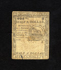 Colonial Notes:Continental Congress Issues, Continental Currency February 17, 1776 $1/2 Fine-Very Fine. Thisnote carries the popular Fugio design on the back and is qu...