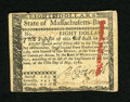 Colonial Notes:Massachusetts, Massachusetts May 5, 1780 $8 About New. An approximate one inch tear is found at center, yet the usual hole cancel is not fo...