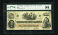 Confederate Notes:1862 Issues, T41 $100 1862. The margin in the upper right-hand corner dips towards the frame line keeping this Scroll 1 C-note from a hig...