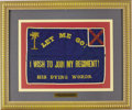 Military & Patriotic:Civil War, CONFEDERATE HOSPITAL FLAG, LET ME GO ! - I WISH TO JOIN MY REGIMENT ! - HIS DYING WORDS, GREENVILLE, SOUTH CAROLINA 1863....