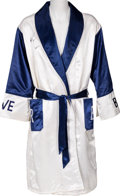 Boxing Collectibles:Autographs, 1990's Riddick Bowe Fight Worn, Signed Robe....