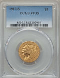 Indian Half Eagles: , 1910-S $5 VF35 PCGS. PCGS Population: (20/1023). NGC Census:(4/1524). Mintage 770,200. ...
