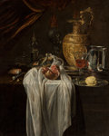 Fine Art - Painting, European:Antique  (Pre 1900), Circle of Willem Kalf (Dutch, 1619-1693). Still life with ewer,vessels, lemon, marzipan and pomegranate. Oil on canvas...