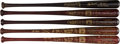 Baseball Collectibles:Bats, 1995-02 Yogi Berra Hall of Fame Black Bats Lot of 5. ...