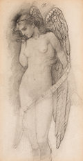 Impressionism & Modernism, Manner of Edward Burne-Jones (British, 1833-1898). Angel.Pencil on paper. 10-1/4 x 5-1/4 inches (26.0 x 13.3 cm) (sight...