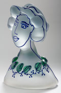 Art Glass:Other , Richard Jolley (American, b. 1952). Female Bust with Leaves,circa 1990. Glass with enamel. 15 x 10 x 6-1/2 inches (38.1...