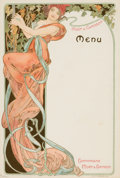 Impressionism & Modernism, Alphonse Mucha (Czechoslovakian, 1860-1939). Champagne, Moët& Chandon Menu, 1899. Lithograph in colors. 8-5/8 x 5-7/8i...