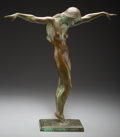 Bronze:European, William Sewell (American, 1901-1951). Female Nude, Circa1930 . Bronze with green patina. Ht. 17 in.. Stamped W. SEWELL/...