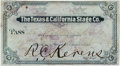 Western Expansion:Goldrush, 1879-Printed Texas & California Stage Company Pass. ...