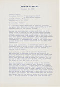Miscellaneous:Ephemera, Frank Sinatra to Justice Antonin Scalia: A Remarkable 4 Page Letter in which Sinatra Expounds on his View of How the Laws Agai...