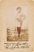 """Photography:Signed, William F. """"Buffalo Bill"""" Cody: An Exceptional 1896-Dated Autographed Photo...."""