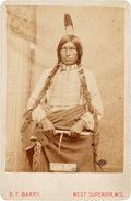 Photography:Studio Portraits, Low Dog: A Scarce Early D. F. Barry Cabinet Photo of a ProminentParticipant in the Battle of Little Big Horn....