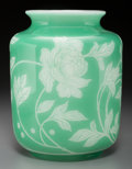 Art Glass:Steuben, Frederick Carder Steuben Jade Overlay Alabaster Glass PeonyVase. Early 20th century. Ht. 9-3/4 in.. PROPERTY ...