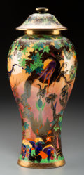 Ceramics & Porcelain, British:Modern  (1900 1949)  , Wedgwood Flame Fairyland Lustre Porcelain Ghostly WoodCovered Vase. Circa 1918. Designed by Daisy Makeig-Jones....
