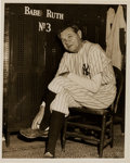 Baseball Collectibles:Photos, 1948 Babe Ruth Original News Photograph, PSA/DNA Type 1....