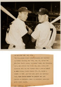 Basketball Collectibles:Photos, 1953 Joe DiMaggio & Mickey Mantle Original News Photograph,PSA/DNA Type 1....
