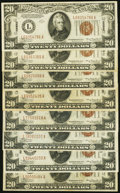 Small Size:World War II Emergency Notes, Fr. 2305 $20 1934A Hawaii Federal Reserve Notes. Eight Examples. Fine or Better.. ... (Total: 8 notes)