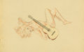 Mainstream Illustration, Alberto Vargas (American, 1896-1982). Song for a Guitar,preliminary study. Mixed media on vellum. 18 x 29 in. (sight)....
