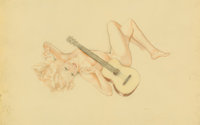 Alberto Vargas (American, 1896-1982) Song for a Guitar, preliminary study Mixed media on vellum 1