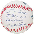 "Autographs:Baseballs, Pete Rose ""I'm Sorry I Bet On Baseball"" Single Signed Baseball. ..."