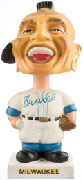 Baseball Collectibles:Others, 1961-63 Milwaukee Braves White Base Nodder. ...